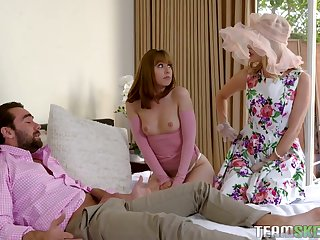 Magnificent chick Daphne Dare and her nasty GF turtle-dove one enticing dude