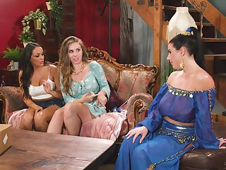 after carnal dance Angela White and Lena Paul appreciate butch threesome