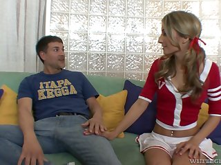 Slender cheerleader Natalia Rossi takes a potation of cum after crazy pussy ache