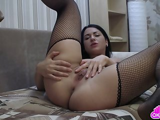Gorgeous dark haired mollycoddle masturbates