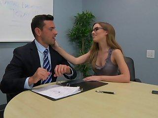 Journo Natasha White with glasses sucks a dick in POV and rides him
