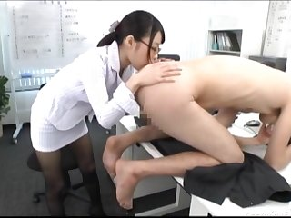 Japanese secretary in glasses licks the whole body of her VIP