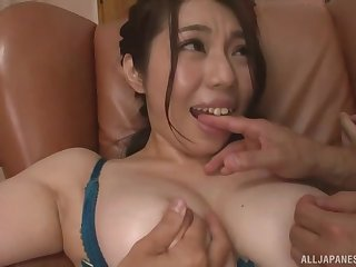 Chubby Japanese Minatsuki Chihiro pleasured by two lucky guys