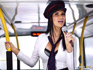Pornstars Jasmine Jae and Madison Ivy fucked apart from the bus driver