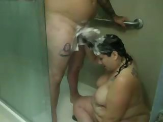 This fat bitch loves to wash his dick with her be alive coupled with she's not camera shy