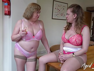 Two mature ladies and a handful of huge bushwa in hardcore sexual video
