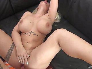 Gaffer blonde Kyra Hot spreads her legs for a throbbing boner