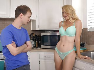Half exposed stepmom Kit Mercer allows to touch say no to boobies and gives the best ever blowjob