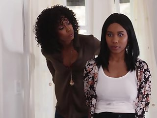 Jenna Foxx and Misty Stone are making love with everlastingly every second and using a double ended dildo