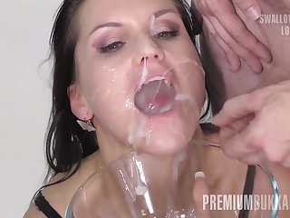 Liberality Bukkake - Barbara Bieber swallows 68 huge mouthful cum loads