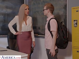 Horny nerdy MILFie motor coach Nina Elle fucks well with her student on the desk