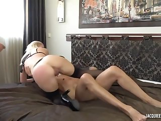Young blonde wife have a very perv, cuckold lover husband, two cock