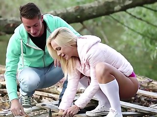 Handsome blonde girlfriend Vinna Stringlike teases her BF with an increment of gets fucked