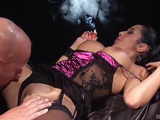 Pizzazz model smokes a cigar while getting passionately fucked