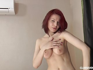 Solo redhead chip divide up Shanvia enjoys teasing with her wet snatch