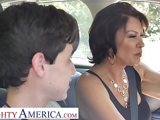 Big tits, Brunette, Couple, Hardcore, Mature, Mature big tits, Mom, Pornstar, Son, Stepmom, Tits,