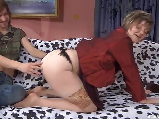 Russian Mature in nude stockings with son