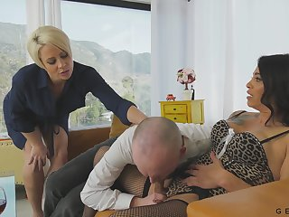 Bitchy wife invites transsexual show one's age for triad sex