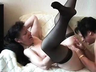 Mature close by stockings treasure threesome
