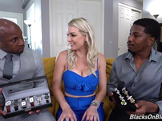 Blondie gets overused by a pair of black hunks with huge dicks