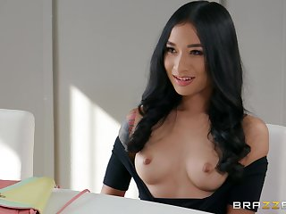 Brunette angel shows retire from with one large dong hitting say no to from all angles
