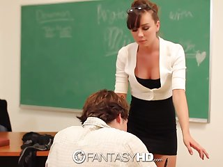 A busty instructor displays the straw that broke the camel's back and fitfully fucks her student ripening